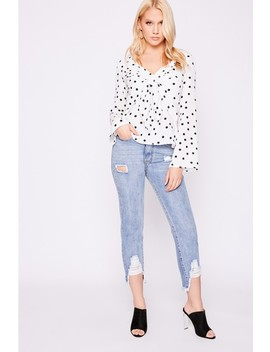Laura Jade White Polka Dot Tie Front Blouse by In The Style
