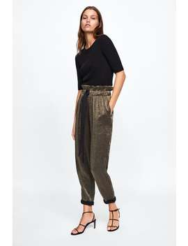 Pantalon À Taille PlissÉe Brillant  Jupe Culottes Pantalons Femme by Zara