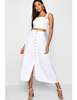 Mock Horn Button Through Midi Skirt by Boohoo