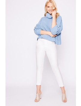 Laura Jade Dusty Blue Cropped Cable Knit Jumper by In The Style