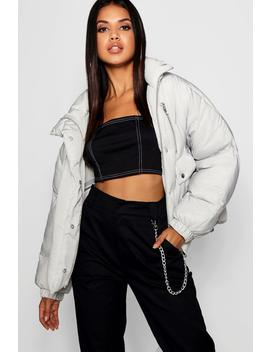 Double Zip Puffer Jacket by Boohoo