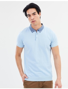 Woven Collar Knitted Polo Ss Shirt by Burton Menswear