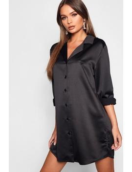 Luxe Satin Oversized Shirt Dress by Boohoo