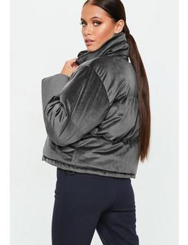 grey-velvet-puffer-jacket by missguided