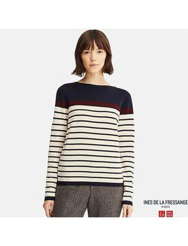 Women Ines Extra Fine Merino Striped Jumper by Uniqlo