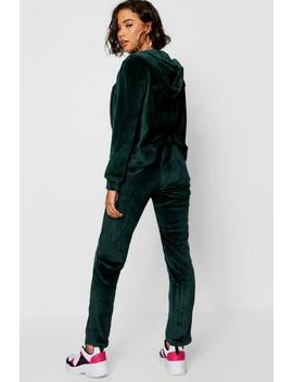 Velvet Zip Through Hoody And Jogger Set by Boohoo