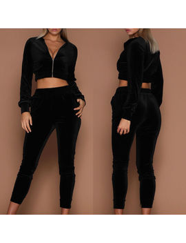 Womens Soft Velvet Tracksuit Hoodies Sweat&Pants Sets Sport Wear Casual Suits by Ebay Seller