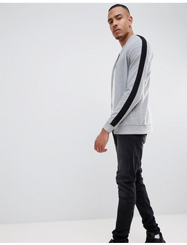 Asos Design Tall Jersey Rib Bomber Jacket With Side Stripe In Grey by Asos Design