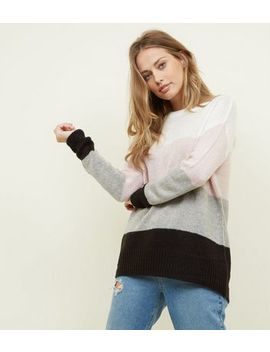 Tall White Colour Block Knitted Jumper by New Look