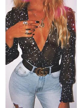 Black Star Print Plunge Shirred Open Sleeve Bodysuit   Dulcemaria by Rebellious Fashion
