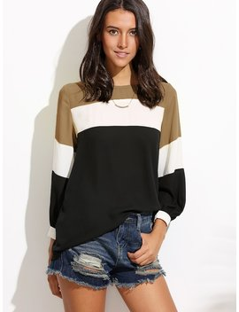 Lantern Sleeve Cut And Sew Top by Romwe