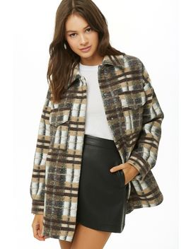 Brushed Plaid Print Coat by Forever 21