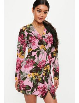 Pink Twist Front Long Sleeve Tropical Mini Dress by Missguided