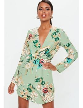 Green Floral Twist Front Dress by Missguided
