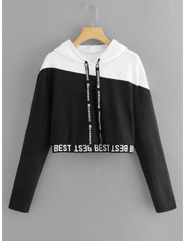 Letter Tape Color Block Sweatshirt by Romwe