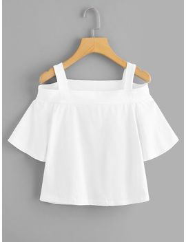 Cold Shoulder Fluted Sleeve Tee by Romwe