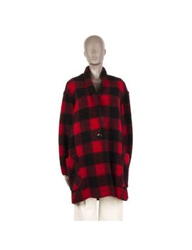 55154 Auth Isabel Marant Etoile Red Wool Plaid Shawl Collar Coat Jacket 44 Xl by Isabel Marant Étoile
