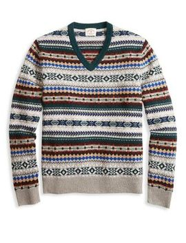 Fair Isle V Neck Sweater by Brooks Brothers Red Fleece