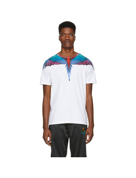 White & Multicolor Wings T Shirt by Marcelo Burlon County Of Milan