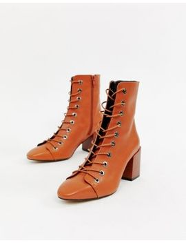 Asos Design Rowena Leather Lace Up Boots by Asos Design