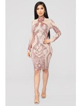 Take Me To Paradise Mesh Dress   Rose Gold by Fashion Nova