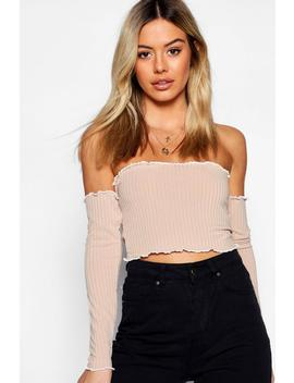 Petite Rib Lettuce Long Sleeve Bardot Crop Top by Boohoo