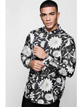 Floral Print Long Sleeve Satin Shirt by Boohoo