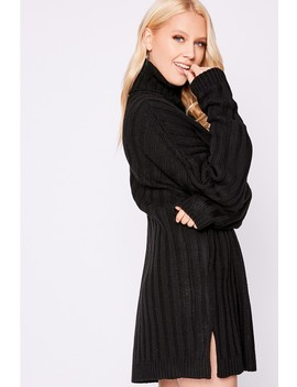 Laura Jade Black Oversized Chunky Knitted Jumper Dress With Side Splits by In The Style