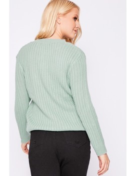 Laura Jade Light Green Fluffy Round Neck Knit Jumper by In The Style
