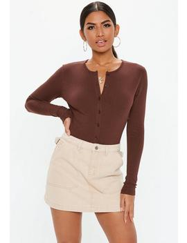 Brown Ribbed Button Front Bodysuit by Missguided