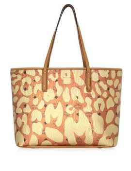 Medium Anya Leopard Print Top Zip Shopper by Mcm
