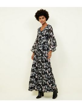 Mela Black Floral Print Fluted Sleeve Maxi Dress by New Look