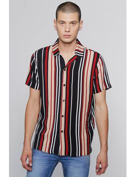 Red Stripe Short Sleeve Revere Shirt by Boohoo