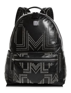 Rebel Tumbler Medium Studded Leather Backpack by Mcm