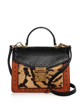 Patricia Small Leather & Leopard Print Calf Hair Satchel by Mcm