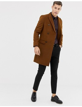 Burton Menswear Double Breasted Coat In Brown by Burton Menswear London