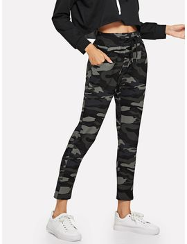 Drawstring Waist Camo Pants by Romwe