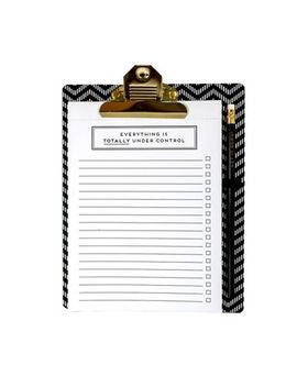 Alice Scott   Black And White Clipboard With Notepad by Alice Scott