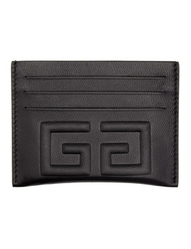Black Debossed 4 G Card Holder by Givenchy