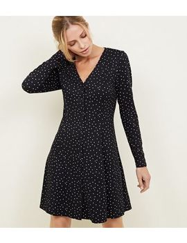 Black Spot Print Long Sleeve Tea Dress by New Look