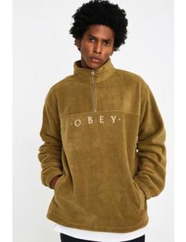Obey Mountain Sand Fleece Mock Neck Quarter Zip Sweatshirt by Obey