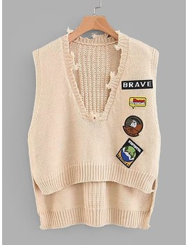 Patch Detail High Low Knit Vest by Sheinside