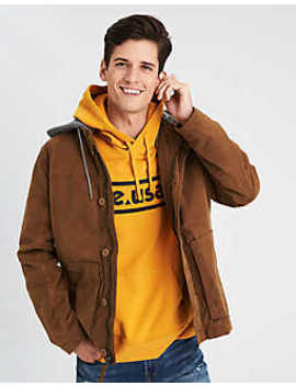 Ae Canvas Fleece Hood Jacket by American Eagle Outfitters