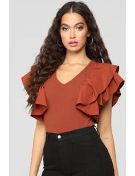 Jules Ruffle Top   Rust by Fashion Nova