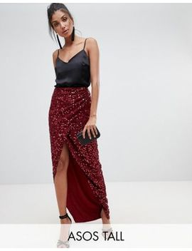 Asos Design Tall Maxi Embellished Wrap Skirt by Asos Design