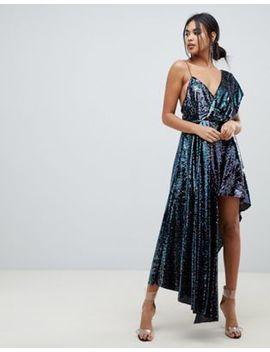 Asos Design Midaxi Dress With Drape Shoulder In All Over Sequin by Asos Design