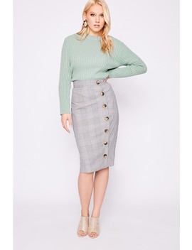 Laura Jade Grey Heritage Check High Waisted Midi Skirt With Button Side Split by In The Style