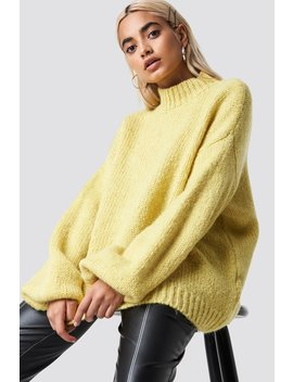 Wool Blend High Neck Knitted Sweater Yellow by Na Kd