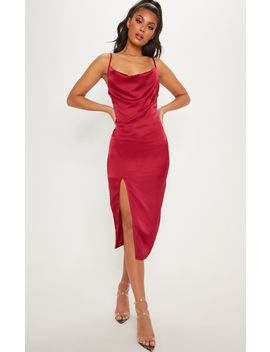 Burgundy Strappy Satin Cowl Midi Dress by Prettylittlething