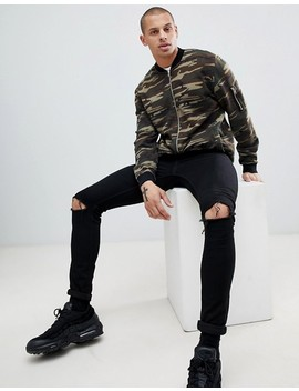 Asos Design Jersey Bomber Jacket In Camo With Ma1 Pocket by Asos Design